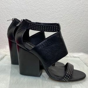 Coach Dessa Studded Block Heels Close Zip Heel